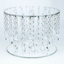 Crystal Acrylic Beaded Round Cake Stand - 10 Inch, Bejeweled