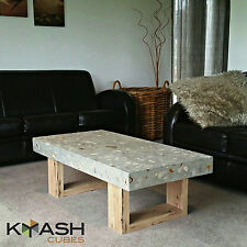 Concrete coffee table with grey polished concrete and hardwood Vic Ash base