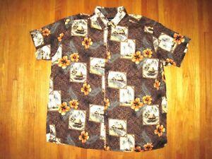 Vintage Big & Tall Harbor Bay Brown Hawaiian Button Front Cabana Shirt 3XL New
