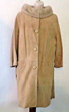 Vintage 1960's Blonde Suede Coat with Mink Collar Marked Size14 Fits Like 10/12