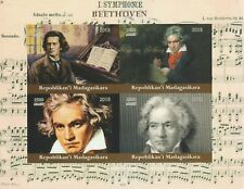 Madagascar 7720 - 2018  BEETHOVEN  imperf sheet of 4 unmounted mint