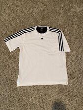 Vintage Adidas Soccer Jersey 3 Stripes Embroidered White Black Size Medium