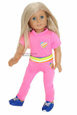 Pink Shirt + Striped Shorts + Pants + Shoes for 18 in American Girl Doll clothes