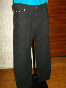 Pantalon coton noir epais rayé stretch HUGO BOSS OKLAHOMA W34 L34 42/44F 20VH16