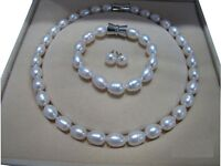 """10-12mm AAA Baroque White SOUTH SEA Pearl Necklace 18"""" Bracelet 7.5-8"""" Earring"""