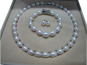 """9-10mm AAA Baroque White SOUTH SEA Pearl Necklace 18"""" Bracelet 7.5-8"""" Earring"""