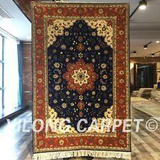 Yilong 4'x6' Handmade Wool Silk Rug Colorized Blanket Woollen Carpet Sale 2064