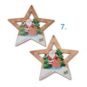 5 Pcs Painted Star Christmas Ornament Santa Clause Decoration Free Ship Holiday
