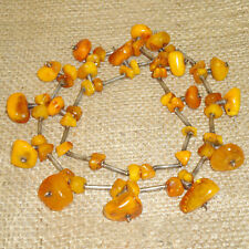 Antique, Extremely Rare Baltic Amber Butterscotch Egg Yolk Beads Necklace 72gr!
