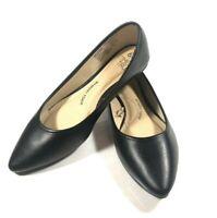 Time & Tru Women's Black Closed Toe Flats Faux Leather Black Memory Foam