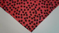 Dog Bandana/Scarf Unisex Red Black Paw Prints Custom made by Linda XS S M L xL