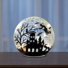 Lighted Crackled Glass Ball Flying Witch Silhouette Halloween Table Centerpiece