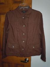 Northcrest women's long sleeve button-down linen blend jacket size L 14/16 brown