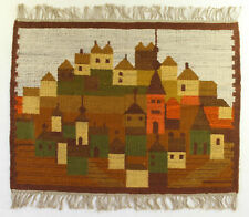 More details for town / architecture modernist vintage polish folk art textile wall hanging / rug