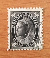 Stamps Canada Sc66 1/2c black QV Leaf Issue Please see description