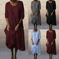 Womens Casual Cotton Linen Dress Ladies Loose Kaftan Long Maxi Sundress Pullover