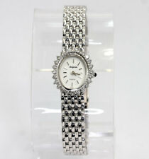 Vintage Avignon diamond ladies watch 14K white gold round brilliant .30CT mesh