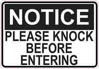 5x3.5 Notice Please Knock Before Entering Sticker Vinyl Stickers Business Signs