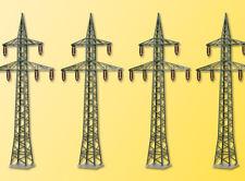 Kibri 38533 Kit de Décoration Poteaux Électriques, 4 Pièces, Kit de Montage, H0