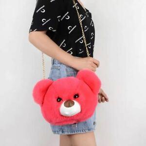 Cute Baby Girls Kids Mini Crossbody Fluffy Bag with Fluffy toy UK fast post