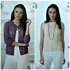 KNITTING PATTERN Ladies Round Neck Lace Cardigan & Lace Top Cotton 4ply 4501
