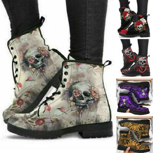 Womens Ladies Ankle Boots Winter Warm Skull Flower Printed Snow Boots Shoes Size