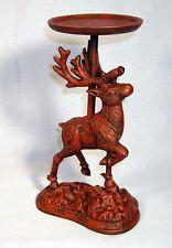 """Cast Iron DEER CANDLE HOLDER Candlestand 8"""" High ~  Reindeer Elk ~ RED"""