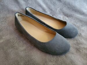 AK Women's Size 6.5D Lands' End Gray Suede Leather Ballet Flats Slide Shoes EUC