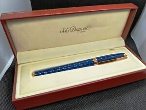 S.T. Dupont Fidelio Blue Marble Lacquer Fountain Pen Nib Gold 14K Medium