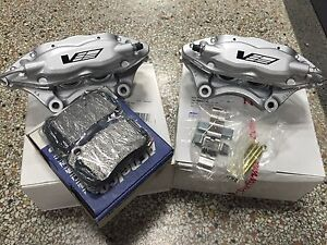 Cadillac CTS-V Brembo Silver 4 Piston Rear Calipers Pair w/ GM Brake Pads + Pins