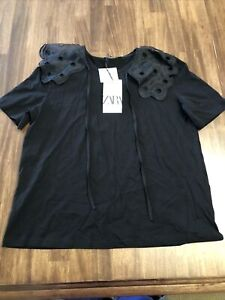 NWT Zara Black Tulle Shoulder Cotton T Shirt Small New With Tags
