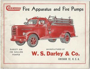1950s W.S. Darley Champion Fire Apparatus and Fire Pumps Trucks Trade Catalog