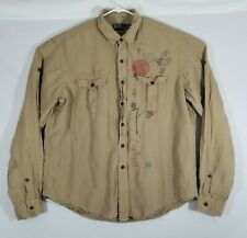 Polo Ralph Lauren Chinese Japanese XXL Long Sleeve Button Up Silk Strap Sleeves