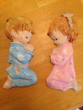 Vintage Plaster Chalkware Girl & Boy Praying Plaques