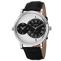 Men's August Steiner AS8146SSB Swiss Quartz Dual Time Black Genuine Leather Wat
