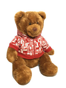 "Aeropostale 2007 Christmas Holiday Plush Teddy Bear 12"" Red Hoodie Aero A87"
