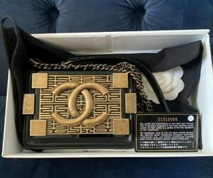 Chanel Lambskin and Plexiglass Seamless Greek Boy Brick Flap Black Rare
