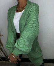 Pink Diamond Women's Moss Cable Knit Cardigan -  Green Super Soft Comfortable