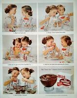 1950s Two Cute Twin Sisters Girls Baking Jello Pudding Photo Art Vtg Print Ad