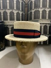 Tesi Men's Straw Boater Hat Made In Italy Size 7 3/4