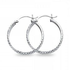 Solid Hoops Round Earrings 14k White Gold Diamond Cut Polished Fancy Design