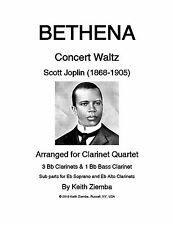 Joplin Bethena Concert Waltz Clarinet Quartet Music 3 Bb 1 Bb Bass opt parts NEW