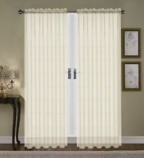 """SET OF 2 SHEER VOILE TAILORED CURTAINS 84"""" LONG IVORY BONE BEIGE"""