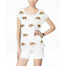 INC 0419 Womens White Sequined Elephant Short Sleeves Casual Top XL BHFO