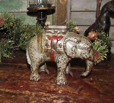 1910 Antique Vtg Hubley Elephant w/ Howdah Cast Iron Still Penny Bank Gift Idea
