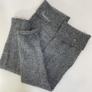 Lululemon Gray Knit embroidered Dance Leg warmers warmer Long Socks Boot Topper