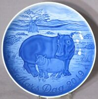 BING & GRONDAHL 2019 Mother's Day Plate B&G MOTHER HIPPO with CALF Mint in Box!