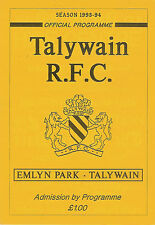Talywain  vTredegar Ironsides 1993/4 RUGBY PROGRAMME