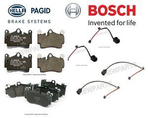 For Porsche Cayenne Turbo 05-06 Front & Rear Brake Pad Set & Sensors Bosch/Hella