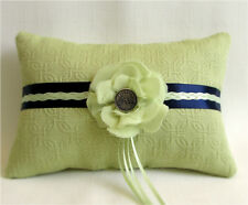 Lime Green, Navy Blue Wedding Ring Bearer Pillow with Chiffon Flower, Handmade